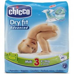 CHICCO DRY FIT ADVANCED 3 MIDI 4-9 KG 21 PZ PANNOLINI