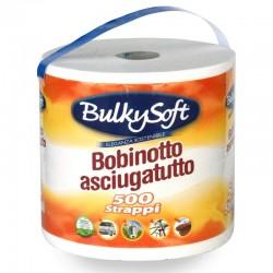 BULKYSOFT BOBINETTA CARTA CUCINA ASCIUGATUTTO MULTIUSO 500 STRAPPI 2 VELI